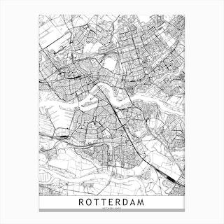 Rotterdam White Map Canvas Print