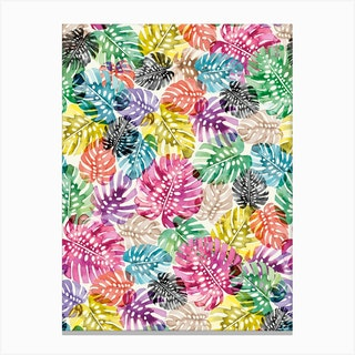 Tropical Monstera Leaves Multicolored Canvas Print