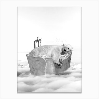 Polar Bear Bath Canvas Print