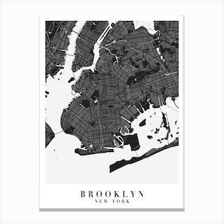 Brooklyn New York Minimal Black Mono Street Map Canvas Print