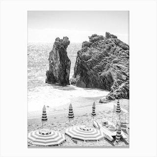 Cinque Terre Black And White Canvas Print