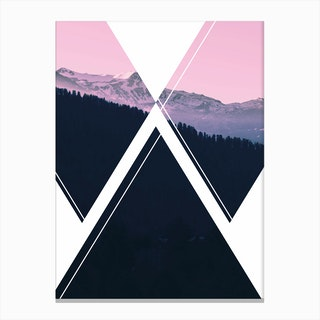 Abstract Pink and Black Mountain Canvas Print