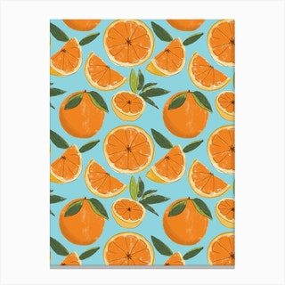 Juicy Oranges Blue Canvas Print