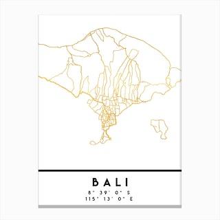 Bali Indonesia City Street Map Canvas Print