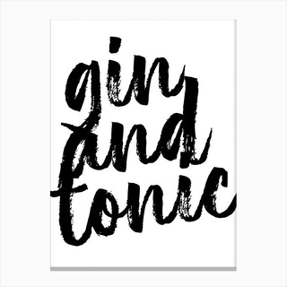 Gin And Tonic Bold Script Canvas Print