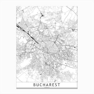 Bucharest White Map Canvas Print