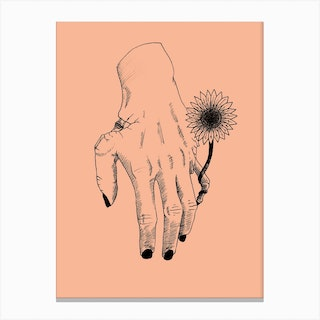 Flower On A Decaying Hand Canvas Print