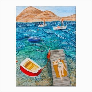 Sunbathing In Milos Greece Canvas Print
