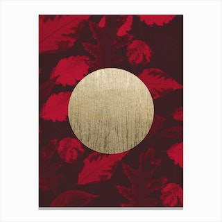 Gold Moon Red Canvas Print