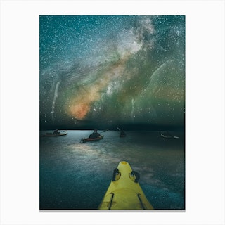 Kyaking With Galaxy Wales Canvas Print
