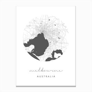 Melbourne Australia Circle Map Canvas Print