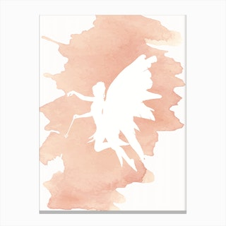 Fairy Peach Watercolour Canvas Print