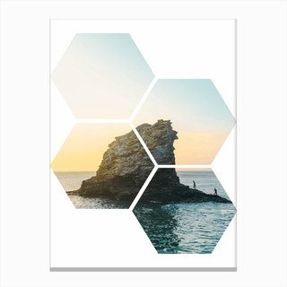Hexagonal Sea Window Canvas Print