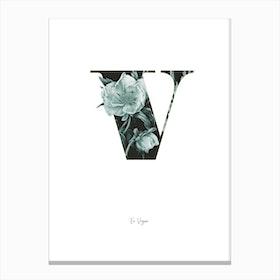 Flower Alphabet V Canvas Print