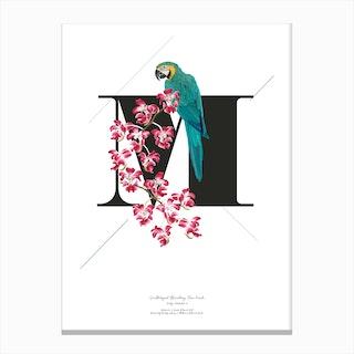 Botanical Alphabet M Canvas Print