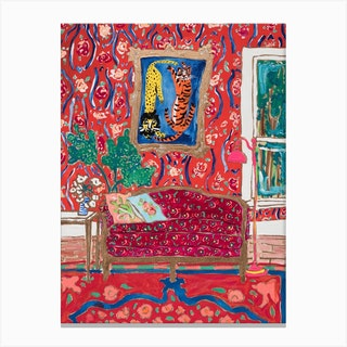 Ornate Red Interior Painting With Wild Cats After Matisse Canvas Print