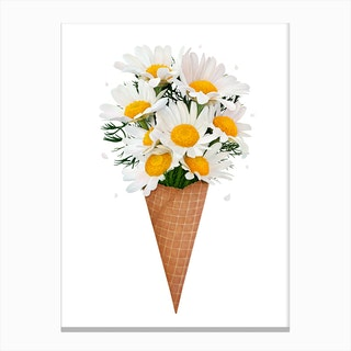 Ice Cream With Chamomile Canvas Print