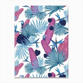 Pink Blue Palm Toucan Canvas Print