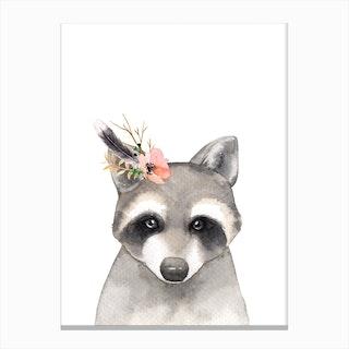 Floral Raccoon Canvas Print