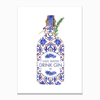 Save Water Drink Gin Canvas Print