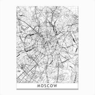 Moscow White Map Canvas Print