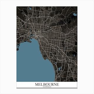 Melbourne Black Blue Map Canvas Print