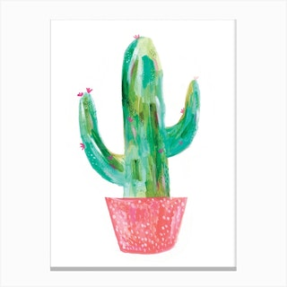 Painted Cactus In Coral Pot Canvas Print