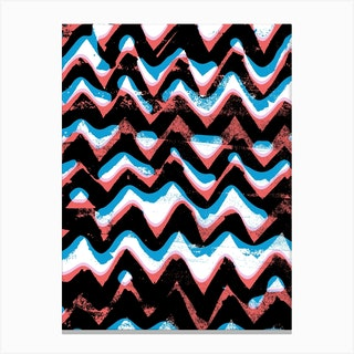Blue And Red Zigzags Canvas Print
