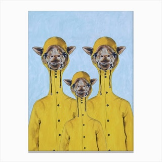 Giraffes Raincoat Familly Canvas Print