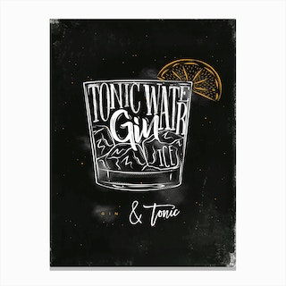 Gin and Tonic Chalk Cocktail Canvas Print
