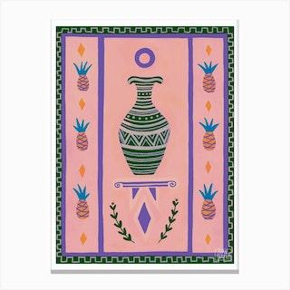 Pink Pineapple Vase Canvas Print