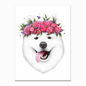 Samoyed With Flowers Canvas Print
