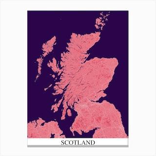 Scotland Pink Purple Map Canvas Print