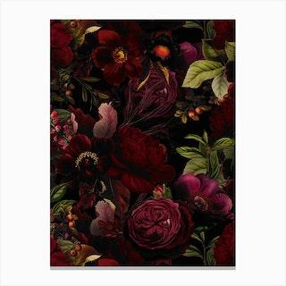 Dark Vintage Rose Garden Canvas Print