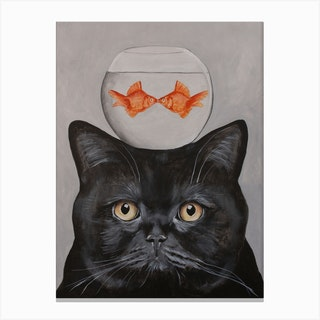 Cat With Fishbowl Canvas Print