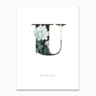 Flower Alphabet U Canvas Print