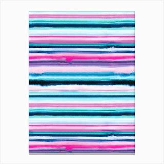 Degrade Stripes Watercolor Pink Canvas Print