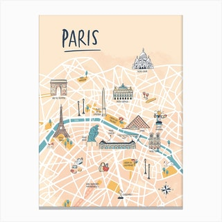 Paris Illustrated Map Canvas Print
