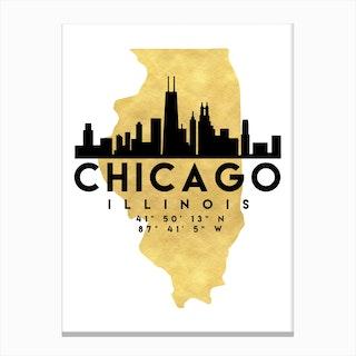 Chicago Illinois Silhouette City Skyline Map Canvas Print