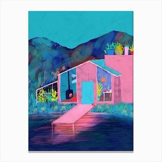 Lake House At Dusk Canvas Print