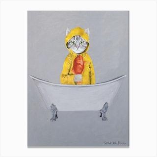 Cat With Goldfish In Bathtub Canvas Print
