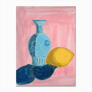 Blue Vase And Lemon Canvas Print