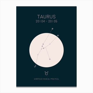 Taurus Star Sign In Dark Canvas Print