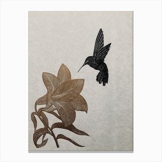 Trumpet Lily And Hummingbird Linocut Canvas Print