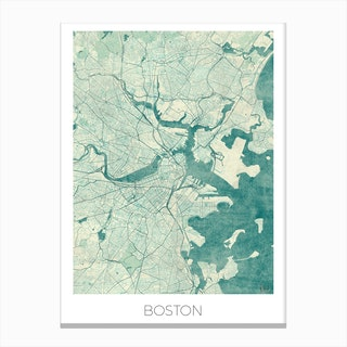 Boston Map Vintage in Blue Canvas Print