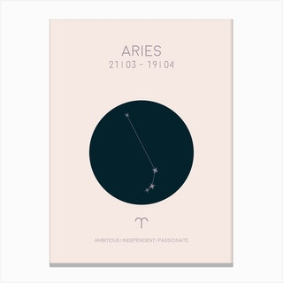 Aries Star Sign In Light Canvas Print