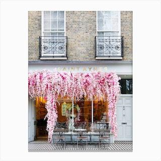 Pink Floral Cafe London Canvas Print