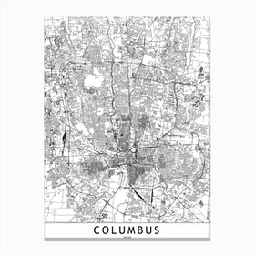 Columbus White Map Canvas Print