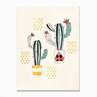 Cactus In A Pot Canvas Print