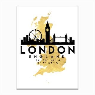 London England Silhouette City Skyline Map Canvas Print